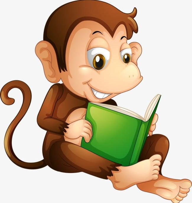 Reading Monkey PNG, Clipart, Animal, Animals, Cartoon.