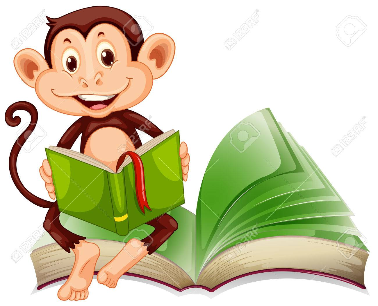 Little monkey sitting and reading a book illustration.