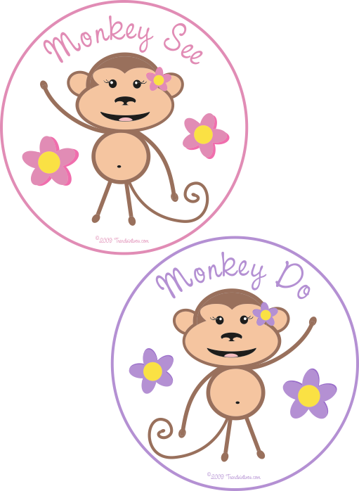 Monkey See & Monkey Do Twin Girls Romper Set.
