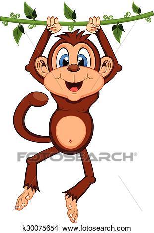Monkey swinging on vines cartoon Clipart.