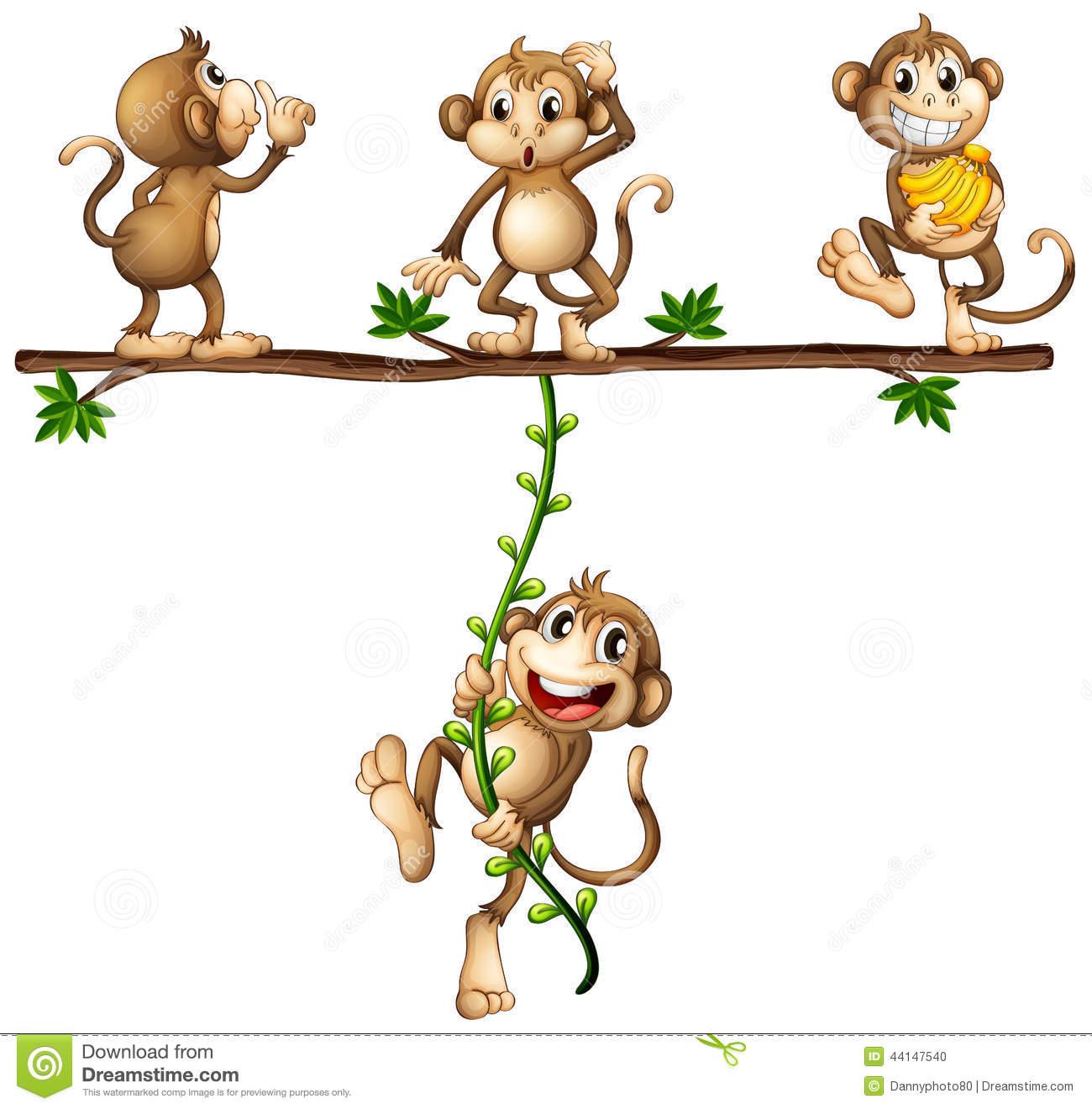 Monkeys swinging stock vector. Illustration of clipart.