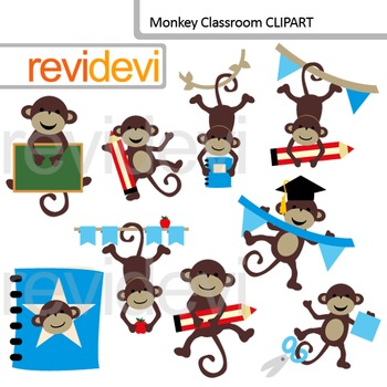Monkey Classroom Clip Art / Back to school clipart.