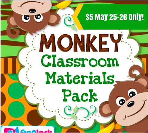 FlapJack Educational Resources: Monkey Classroom Decor Pack.