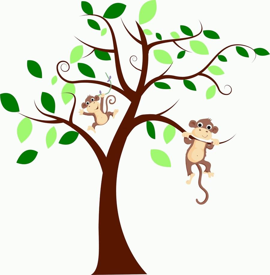 Download monkeys on a tree clipart Branch Capuchin monkey.