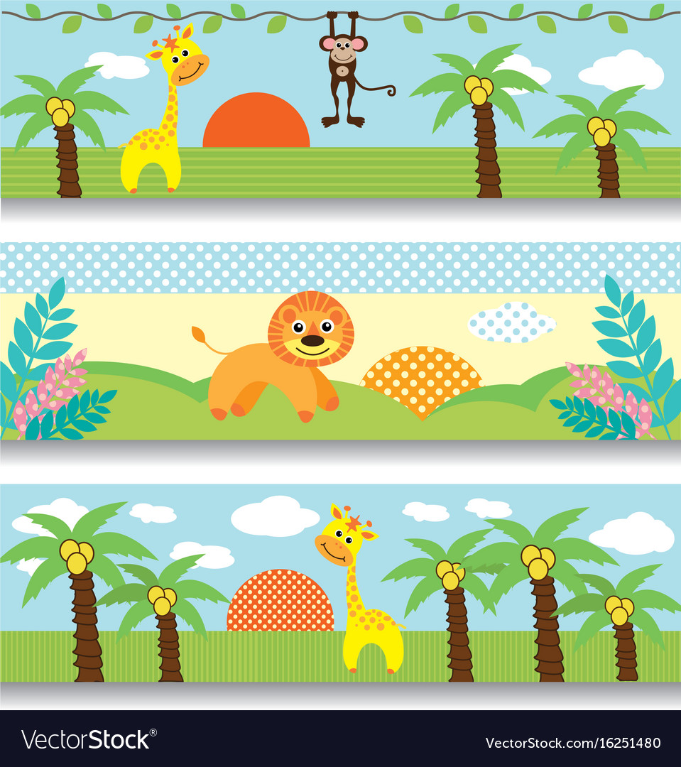 Africa baby clipart giraffe monkey trees clouds.