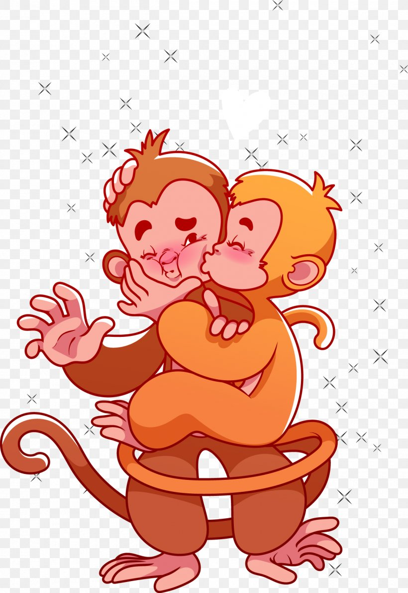 Monkey Valentines Day Cartoon Clip Art, PNG, 1300x1887px.