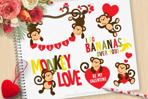 Valentine Monkey love Clipart.