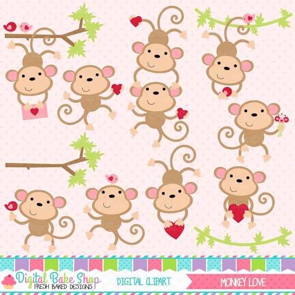 Monkey Love Valentine Clipart.
