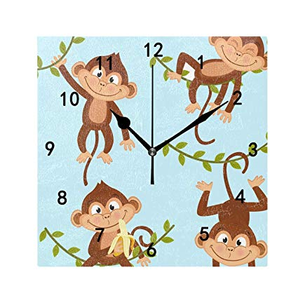 Amazon.com: Isolated Monkey Hanging On Vine Print Wall Clock.