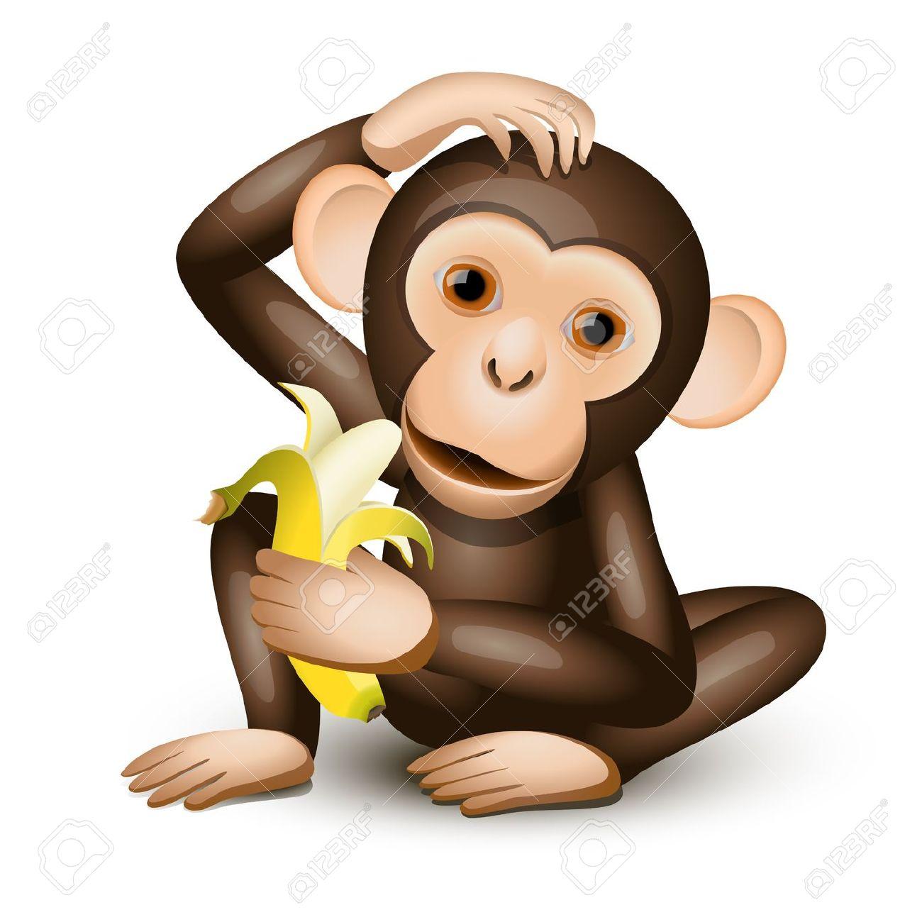Monkey With Banana Clipart