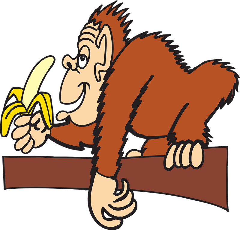Clipart monkey with banana.