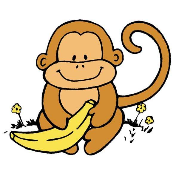 Baby Monkey With Banana Clip Art.