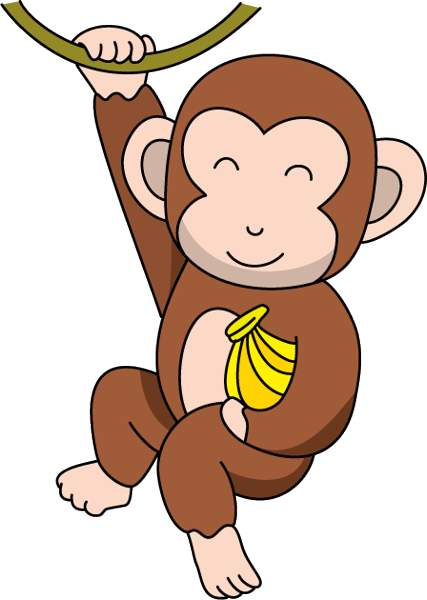Monkey with banana clipart.