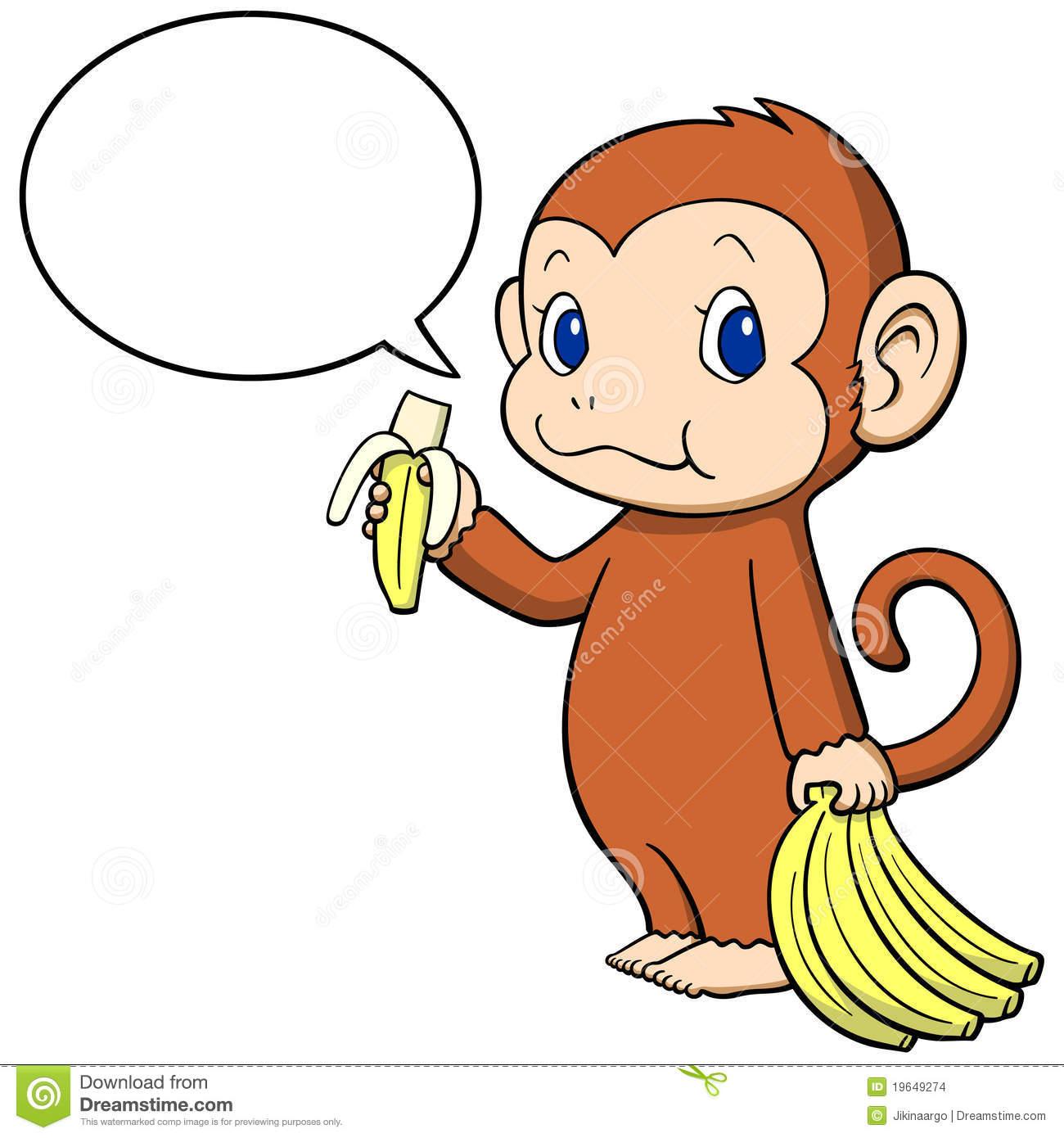 Monkey with banana clipart.