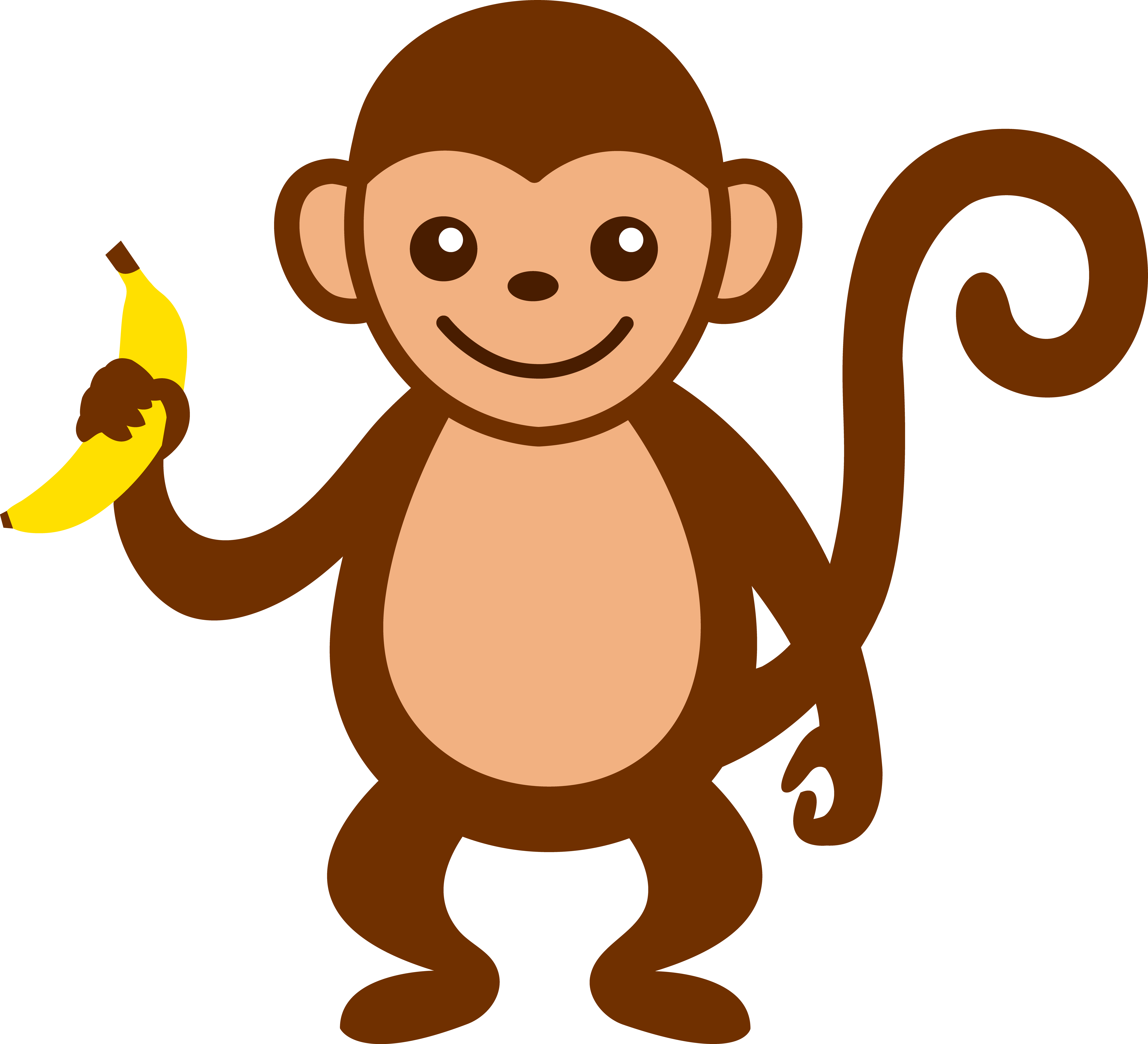 Cute Monkey With Banana.