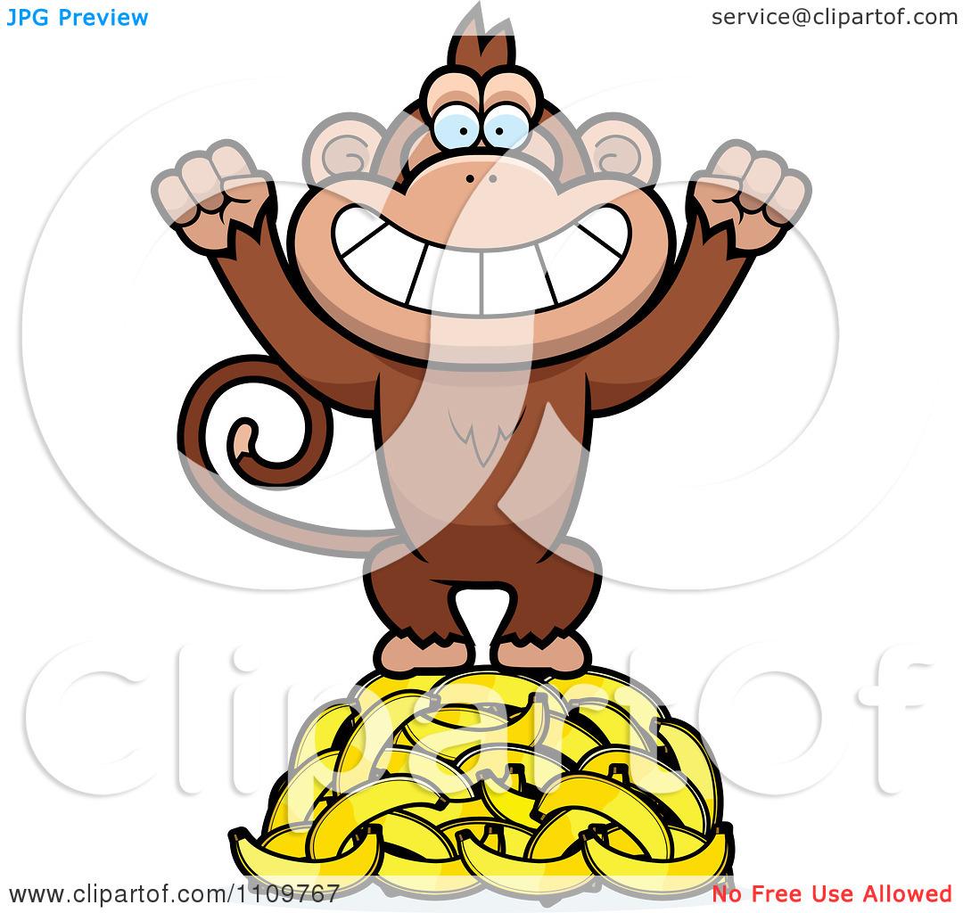 Baby Monkey With Banana Clip Art.