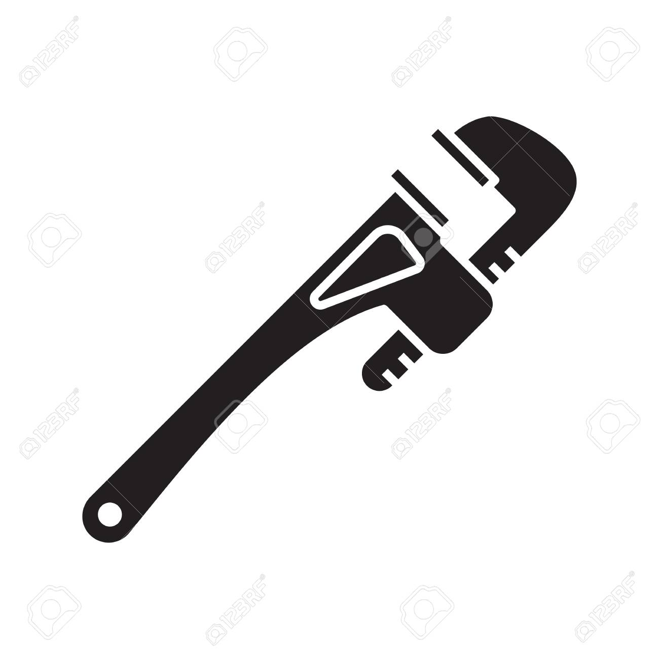 Monkey wrench glyph icon. Silhouette symbol. Spanner. Negative...