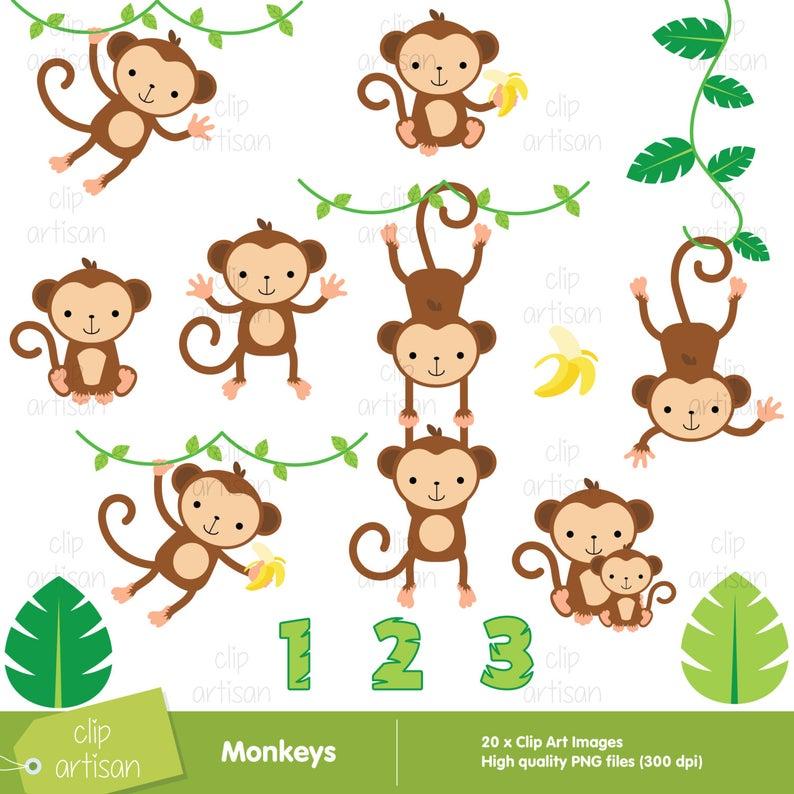 Monkey Clipart / Monkeys Clipart / Baby Monkey Clipart.