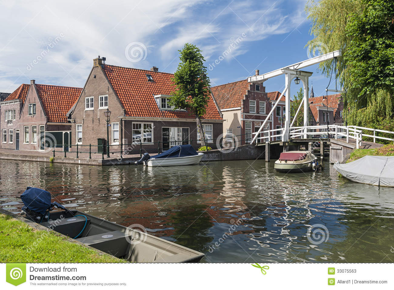 Canal In Monnickendam Netherlands Stock Photos.