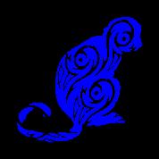mono azul Delantal.