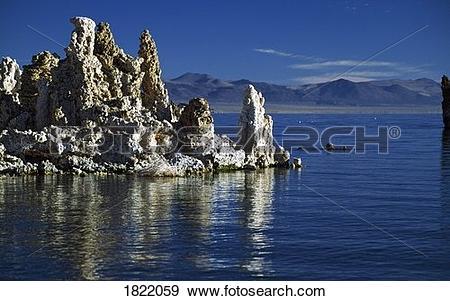 Stock Photograph of Rock formations on Mono Lake, California, USA.
