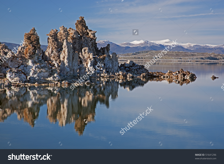 Landscape Of Mono Lake With Tufa And Eastern Sierra Nevada.