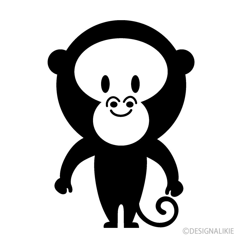 Free Cute Monkey Black and White Image|Illustoon.