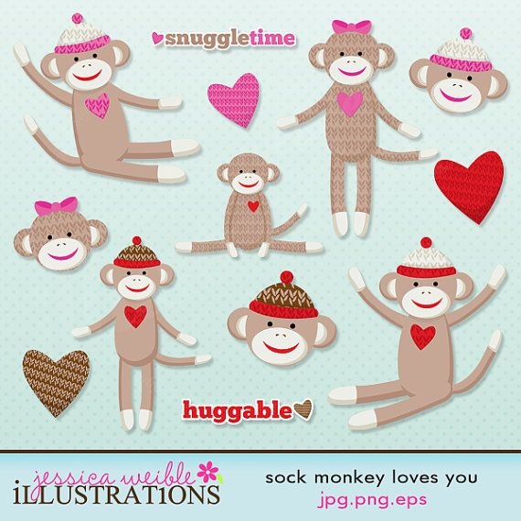 Sock Monkey Loves You Cute Digital Clipart.