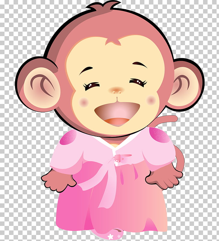 Monkey Cartoon Cuteness, Pink monkey PNG clipart.