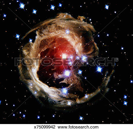 Stock Photo of Variable star V838 Monocerotis in constellation.