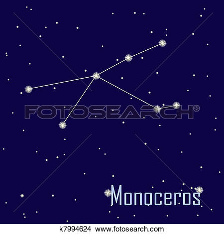 """Clipart of The constellation """" Monoceros"""" star in the night sky."""