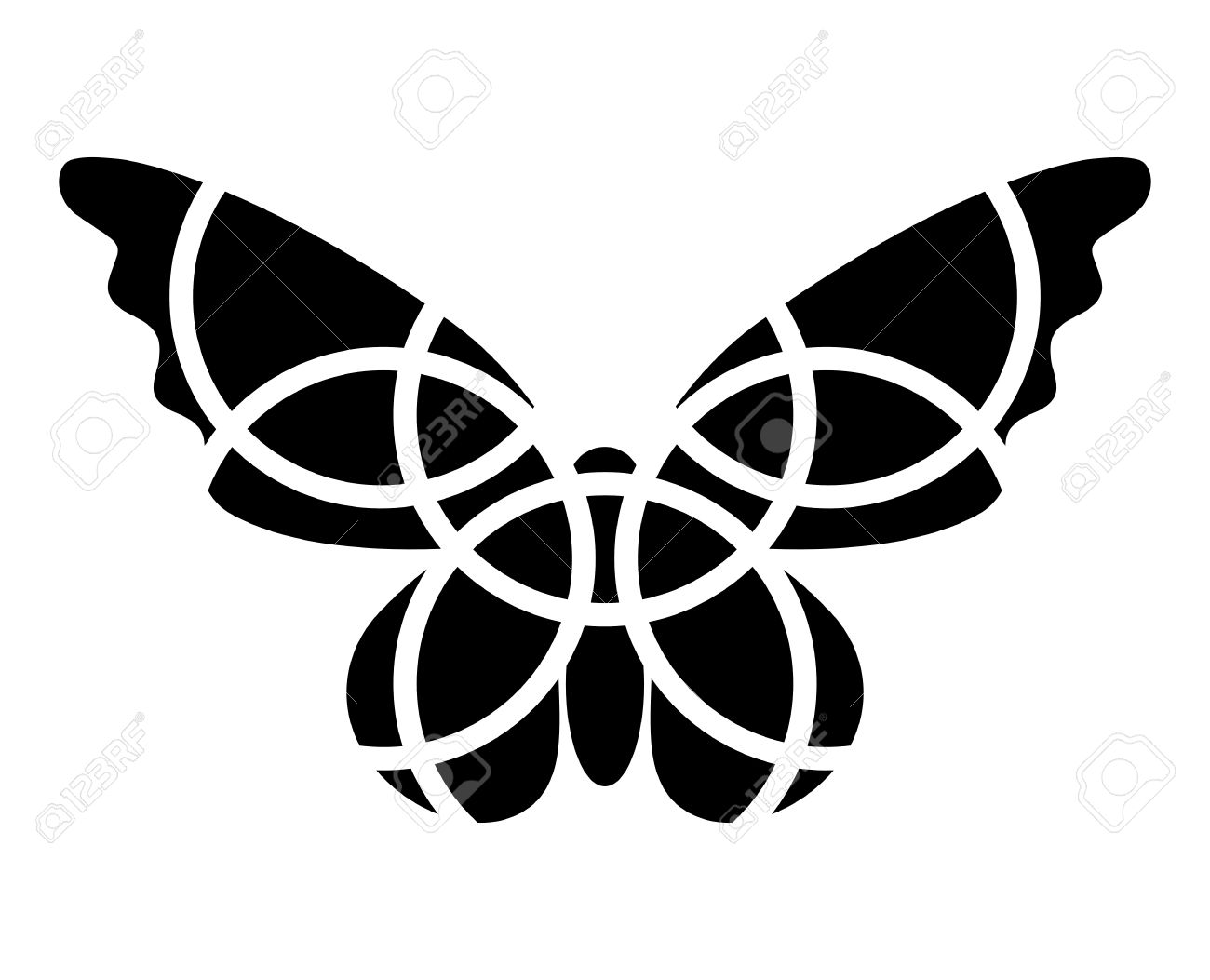 Butterfly Icon. Mosaic Butterfly Clipart. Monochromatic. Isolated.