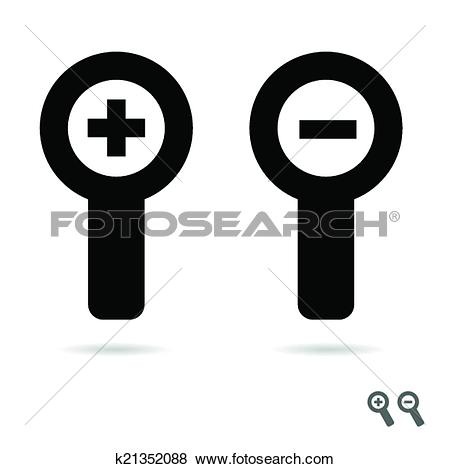 Clip Art of monochromatic increase decrease magnifiers icons.