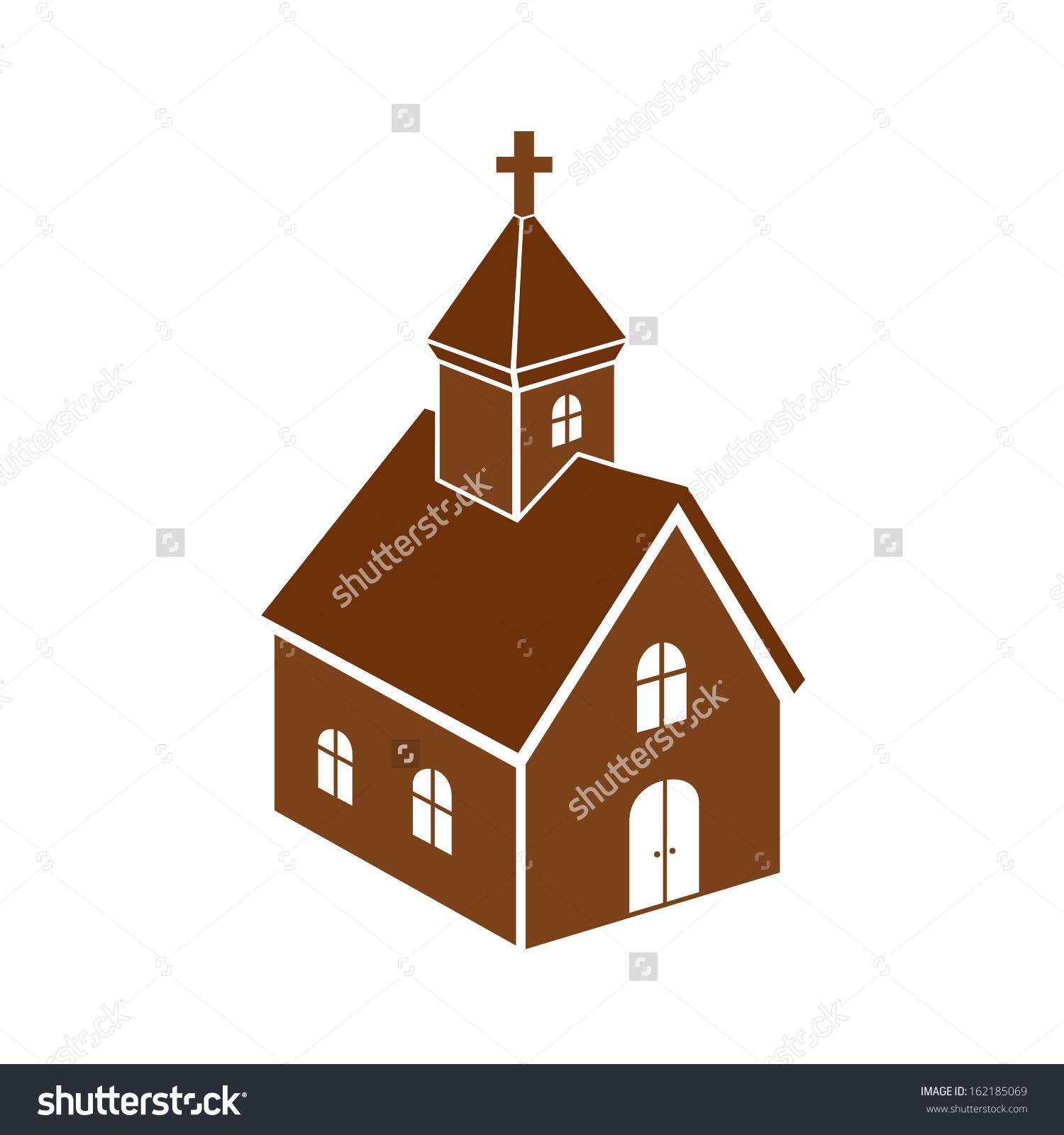 Christian Church Icon Monochromatic Isolated Illustration Clip.