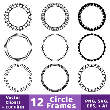 12 Circle Frames Clipart, Decorative Borders, Frame, Label, Monogram Circle.
