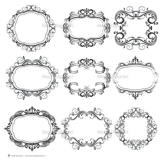 Digital Monogram Wedding Flourish Swirl Clip Art.