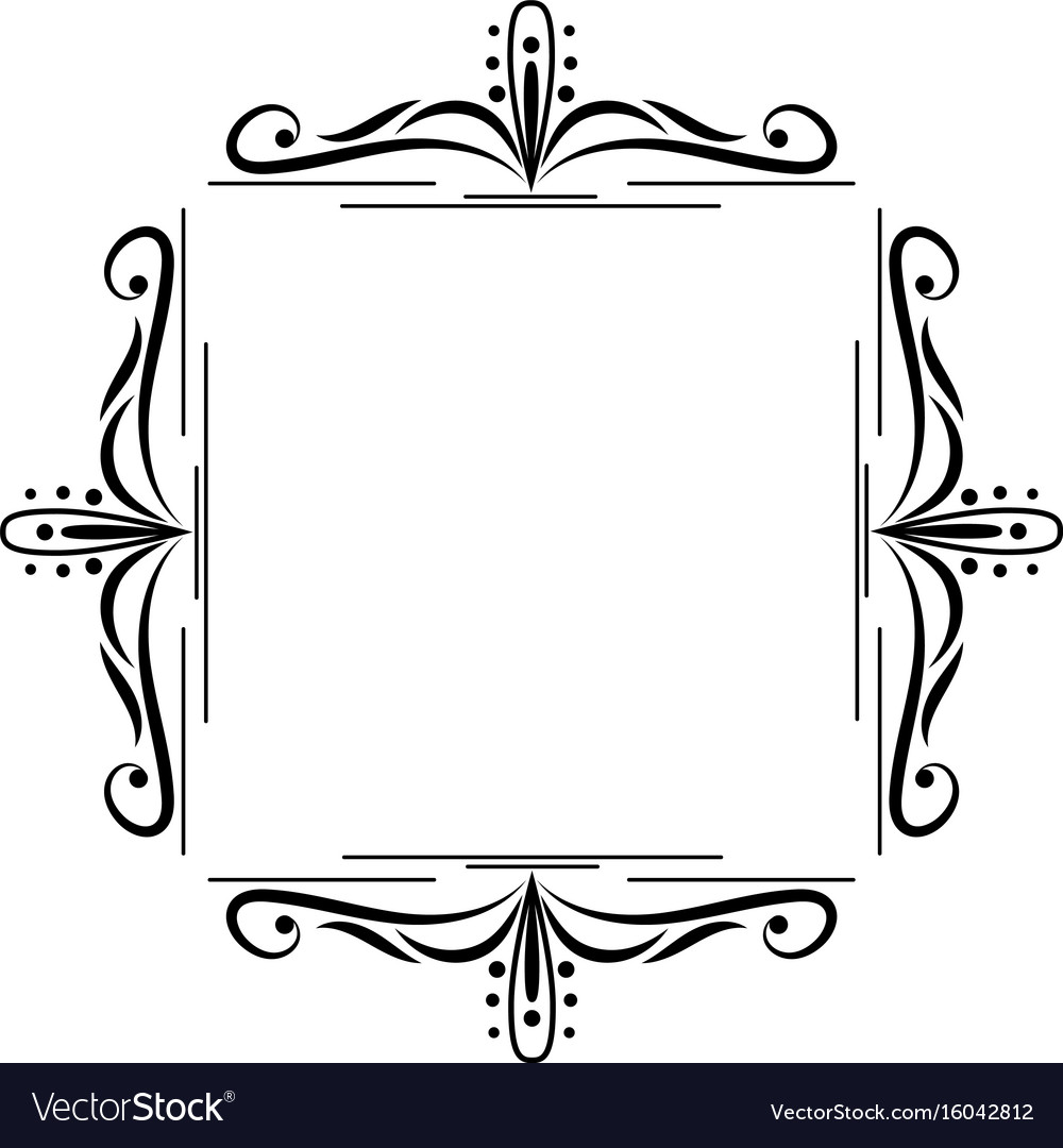 Black border monogram decorative element.