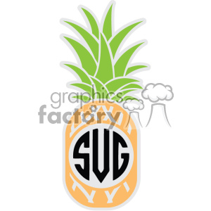 pineapple svg cut file vector monogram dxf clipart. Royalty.