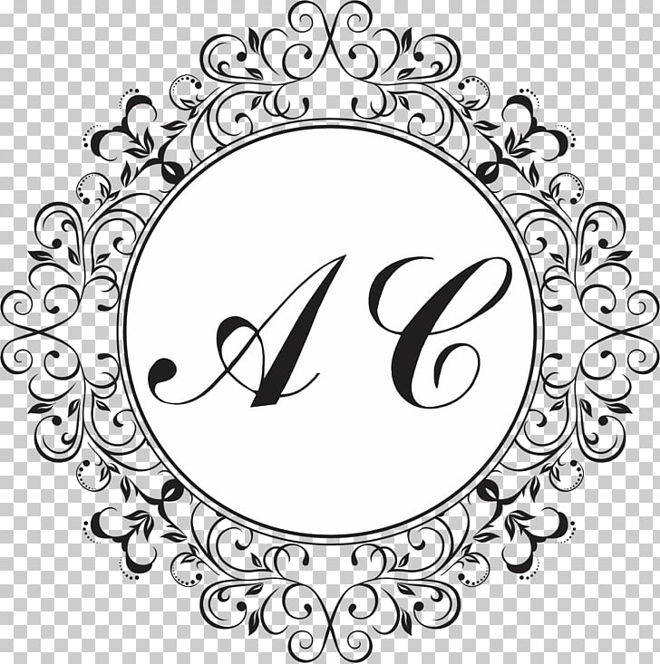 Monogram Cdr , arabesco, black and white AC illustration PNG.