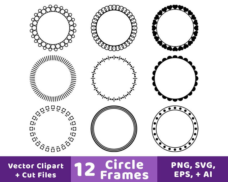 12 Circle Frames Clipart, Monogram Frame SVG, Round Frame Clipart, Circle  Border, Decorative Borders, Circle Labels, Circle Frame SVG.