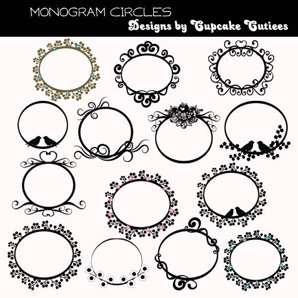 Monogram Frames Clip Art Dotted Monogram F #174386.