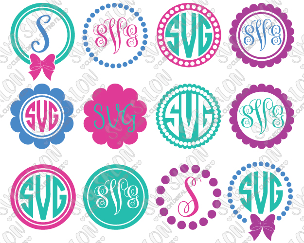 Simple Polka Dot And Bow Circle Monogram Frame Custom DIY Cutting File Set  in SVG, EPS, DXF, JPEG, and PNG Format.