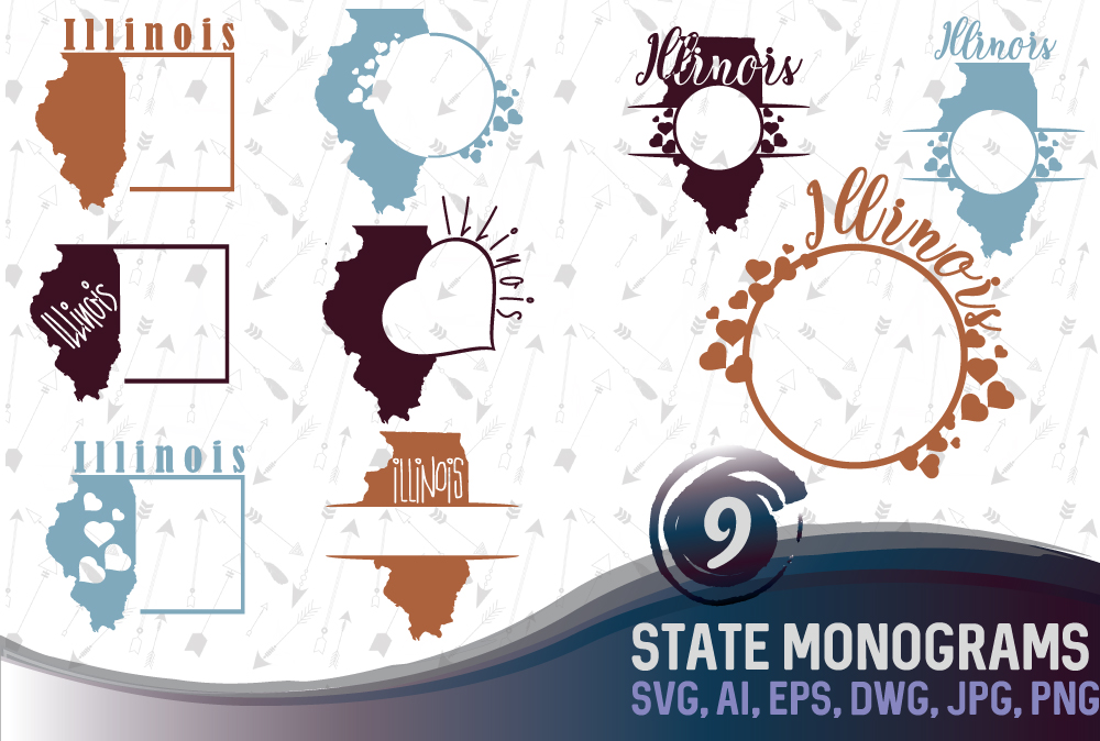 Illinois SVG, State Monograms, Illinois clipart, Monogram Frames.