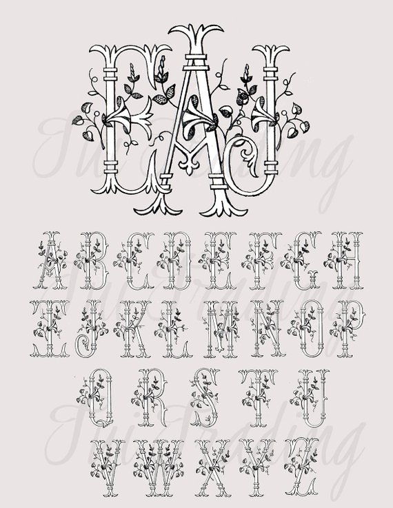Monogram Typography, Alphabet Clipart, Antique Letters.