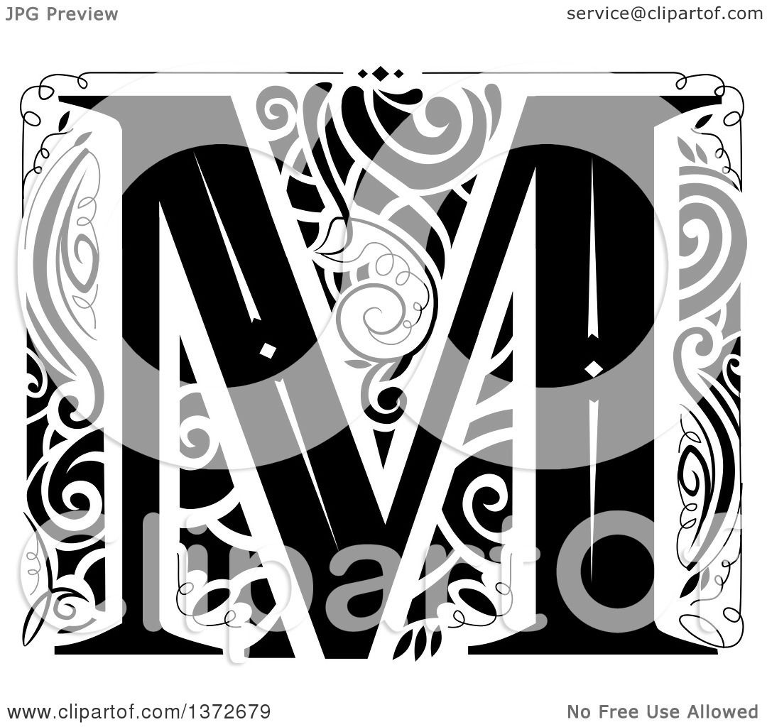 Clipart of a Black and White Vintage Letter M Monogram.