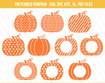 Patterened pumpkin clipart clipground for Monogram pumpkin templates