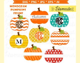 Pumpkin monogram svg.