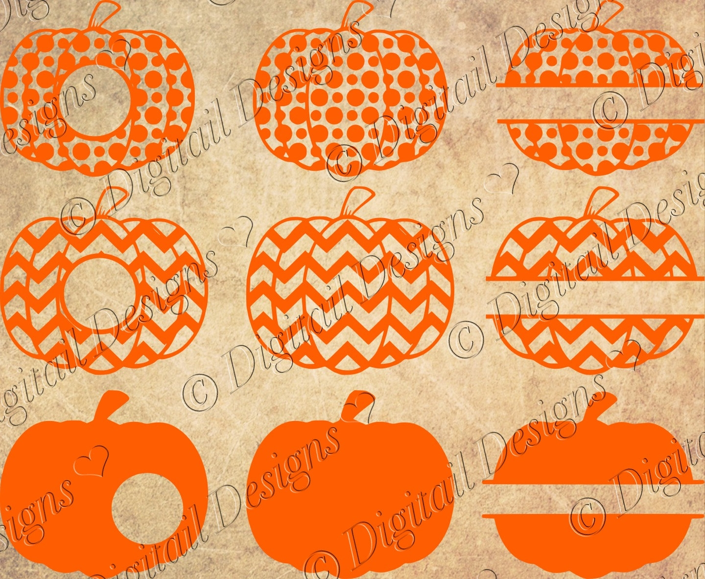 Pumpkin Monogram Clipart.