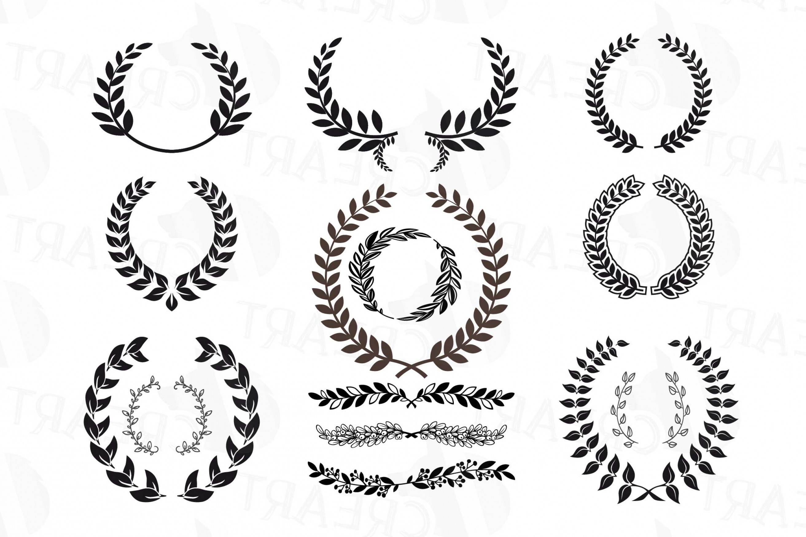 Laurel Wreath Clipart Monogram Frames Silhouette.