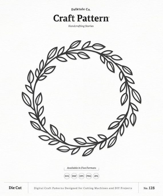 Wreath SVG Craft Pattern, Leaf Wreath SVG, Monogram Frame.